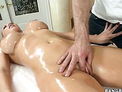 Huge tits are getting a massage