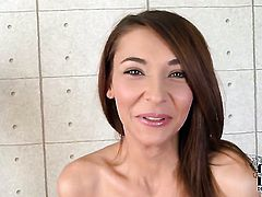 Playful hussy Alexis Brill stripping down to her birthday suit and has fun alone