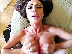 Brunette Ariella Ferrera with giant knockers cant get enough and takes dick in her loose hole over and over again