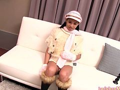 Ladyboy June dances to a Christmas song in a sexy winter outfit and strips. Then her femboy ass gets fucked with a big black anal trainer and gets fucked with a raw dick.