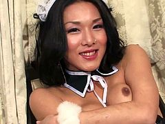 Black-haired shemale from Japan exposes her fully erected schlong