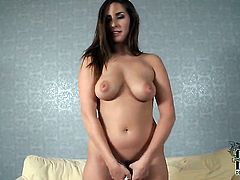 Paige Turnah with big jugs and clean twat sticks dildo so fucking deep in her fuck hole