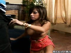 Brunette senora Isabella Bailey strips and masturbates