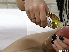 Brunette Amy gets cum drenched