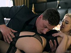 Nesty's boss told her, that he will fire her, if she don't do anything to please him. So she invited him to the hotel, welcomed him with sexy black lingerie and asked him to touch her boobs. He pressed her tits, kissed nipples and inserted two fingers in her pussy... She gave blowjob passionately.