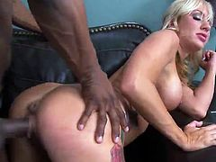 Blonde MILF has bumped By the great chocolate python inside Her Office