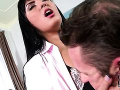 Jasmine Black with huge knockers and clean snatch keeps her mouth wide open while taking face cumsho