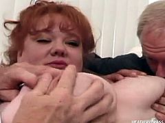 Guy presents his new fiance to his friends, but the nasty big whore wants all the dicks in the room. So, as soon as her boyfriend leaves, she seduces the men, taking their hard throbbing cocks in the same time.