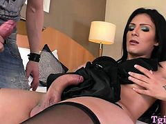 Huge boobs and big cock shemale fucking with horny man