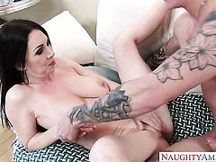 Brunette exotic seductress has a great time playing with cum loaded dick