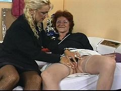 Sibylle and Wilhelmina use to meet and talk about their lives, but this time was different. The blonde lady brought her dildo with her and Sibyle was curious to try it. They may be old, but their fat twats are always eager for orgasm... Check out this naughty porn scene.