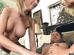 Blonde Devon Lee enjoys guys love stick in her mouth in insane oral action