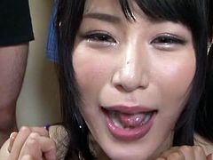Japanese AV star Chigusa Hara a sheer nightie away from nakedness goes full on gokkun in this blowjob lineup extravaganza featuring cum swallowing of the highest order with English subtitles
