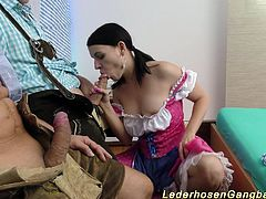 wild amateur lederhosen gangbang swinger fuck orgy with horny german chicks