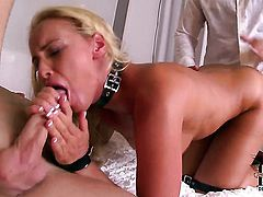 Warm woman Kathia Nobili gets her mouth fucked good and hard
