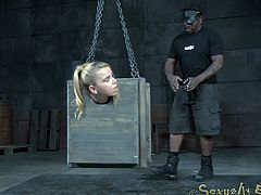 There is nothing more humiliating than being in a dungeon - except being in a dungeon and being put in a tiny box. Her ass his hanging out, so the master can have his way with her. He sprays her down and emasculates her.