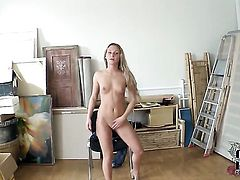 Amanda Blake with smooth bush stripping down to her birthday suit and plays with herself