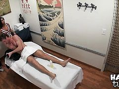 Oriental Annie Lee with huge knockers and clean muff squeezes the cum out of rod with her pussy in i