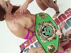 Savannah had a tough match against Darling, but she ended up with the highest score at the end. She does a mixture of pleasuring and humiliating the unfortunate Darling. She rubs her pussy, takes away her belt and her laptop.