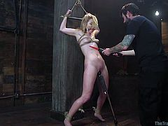 Rope bondage in a warehouse with an older bearded man. Watch as he ties her up, gags her and uses a dildo, to help her to reach orgasm multiple times. He even makes her rub her own pussy, till she comes in from of him.