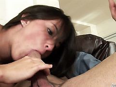 Vannah Sterling has fire in her eyes while sucking mans stiff cock