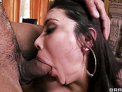 Brunette with gigantic boobs has great anal experience and expands it with horny guy