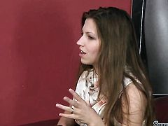 Brunette Silvia Saint strips down to her bare skin and then masturbates on camera