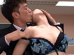 Being a teacher in Japan certainly has its perks. For example, sometimes you get to fuck your busty coworker. He licked and sniffed her armpits, before eating out her pussy from behind. They did this all in the classroom!