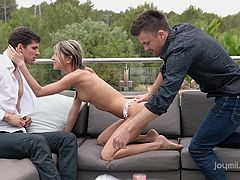 Gina was resting on the balcony, when her boyfriend came with his friend. Actually, they were not going to disturb her, but her sexy movements and shaved pussy made them horny. Watch Gina sucking their dicks alternately, with great passion. Have fun and enjoy the exciting threesome!
