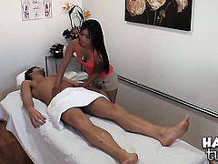 Asian Nipsey with juicy ass and trimmed bush gagging on dudes erect meat pole