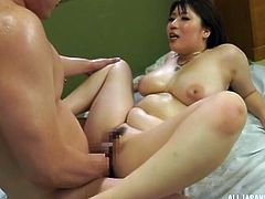 Hot and busty milf Saegusa, likes this massage. She likes the big thick cock of the masseur, which is pounding her real hard. The Japanese cock queen looked extremely satisfied with the service, that was provided to her!