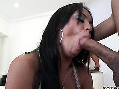 Brunette latin Mariah Milano with phat bottom gives cock massage to one lucky dude