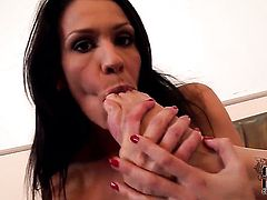 Milf Samia Duarte does striptease before she sticks vibrator in her fuck hole