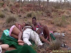 wild african safari groupsex fuck orgy with sexy black babes in nature