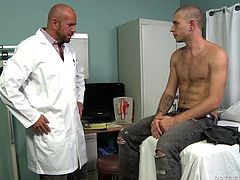 gay doctor gives blowjob and handjob to his patient