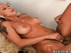Blonde Serena Marcus with juicy ass and trimmed twat wants this blowjob session with hot dude to last forever