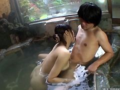 A beautiful Asian babe is deeply in love with a stud and planned an erotic trip in public place without his knowledge. They enjoyed for some in the swimming area, where she sucked her boyfriend's long dick. Frankly, this dirty slut doesn't have any shame.