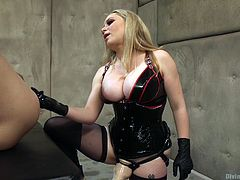 Blonde busty mistress Aiden Starr, is on her post, humiliating and disgracing slutty men slaves. Her huge strapon is ready to penetrate weak Marcelo's asshole, but before, she fingered it deep. Ball gag drowned out his cries, when she makes the first thrust, but Aiden continued to accelerate. Have fun!