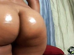 Brunette with phat booty and bald cunt does her best to make horny guy cum in interracial sex action