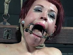 Violet is feeling some painful pressure right now, with those suction pumps still attached to her nipples, but that might not be as bad, as her mouth held open and having a dildo on a stick, shoved down her throat. It gets better, when the vibrating saddle is placed under her pussy.