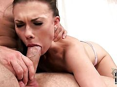 With tiny breasts and hairless beaver does lewd things and then gets her pretty face cum drenched