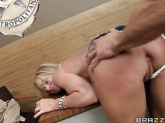 Milf makes dudes meat stick harder before getting her ass slam fucked