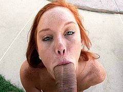 Cute redhead fucked at the pool