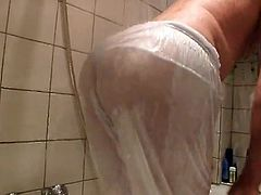 Big Guy Plays in the Shower