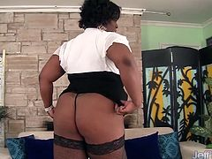 Sexy black plumper shows of her sexy nude body and start masturbating with a dildo. Later she uses a vibrator and gets a good orgasm.