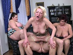 The moment he stepped into their house, he knew something was not right. These women didn't need his services as a plumber, they only wanted his cock. Seems, that these mature and fat women have not feel a dick inside them for a long time. See what happens next!