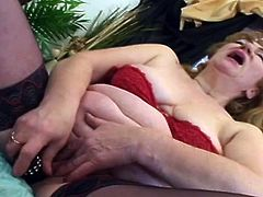 Jitka was masturbating and inserting dildo in her pussy. She didn't know, that her step-son was watching her from the open window. He came in her room, undressed himself and inserted his cock in her mouth. First she hesitated, but then started to give blowjob nicely. She exposed her boobs and asked...