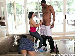 Cock lover wife fucked her hubby's friend in front of her mother in law. Her sexual desires were not fulfilled by her husband, which made her a bitch. She took on the black guy. Her boobs were bouncing like a tennis balls, when she was riding his cock. This thick and black cock satisfied her needs!