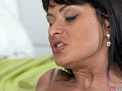 This seductive brunette mom, Tera Joy, is like a real hurricane. She started with quiet moans and ended with loud sensual cries. Her lover passionately licked her wet shaved pussy, then fingered it deeply. Being completely ready for the hard fuck, she lubed her partner's dick with her saliva and... Join us and experience a new wave of pleasures!