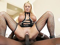 Lexington Steele finds herself getting nailed by horny guy again and again in steamy interracial action